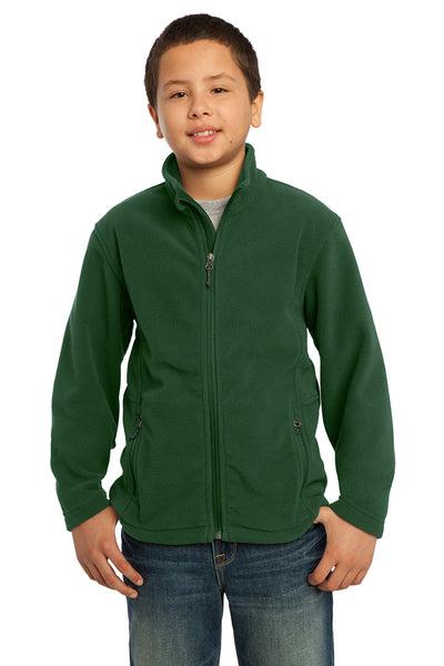 Port Authority Y217 Youth Full Zip Fleece Jacket Forest Green Front