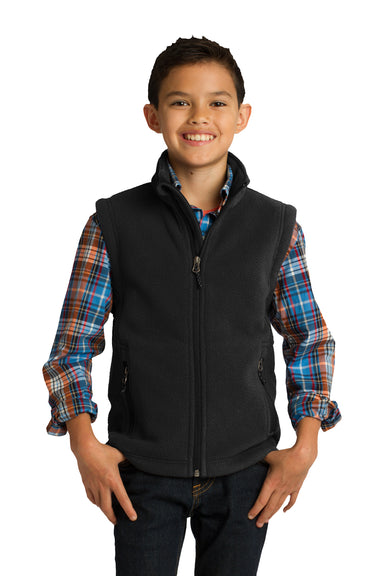 Port Authority Y219 Youth Full Zip Fleece Vest Black Front