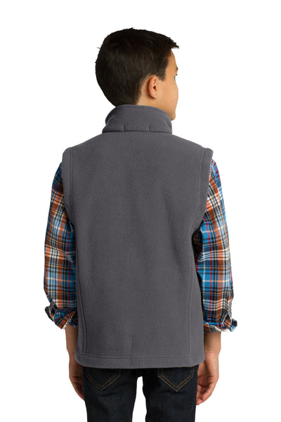 Port Authority Y219 Youth Full Zip Fleece Vest Iron Grey Back