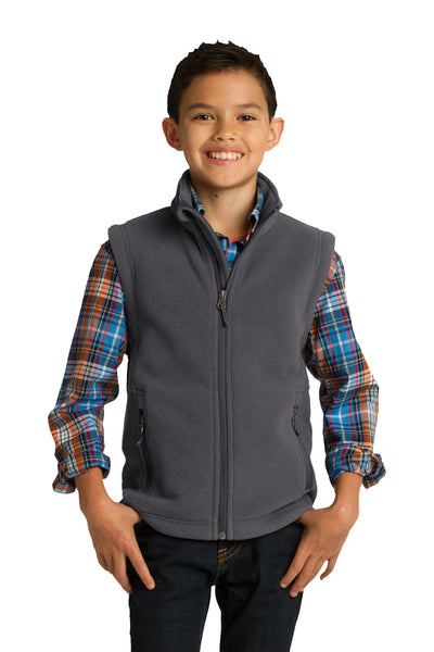 Port Authority Y219 Youth Full Zip Fleece Vest Iron Grey Front