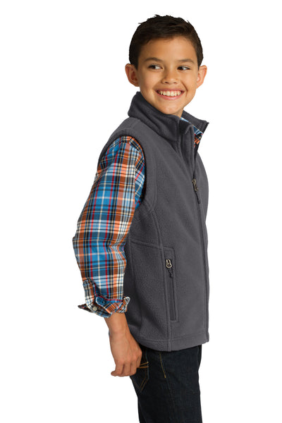 Port Authority Y219 Youth Full Zip Fleece Vest Iron Grey Side