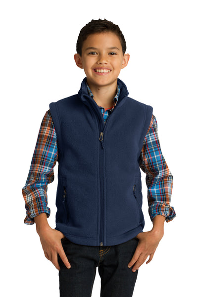 Port Authority Y219 Youth Full Zip Fleece Vest Navy Blue Front