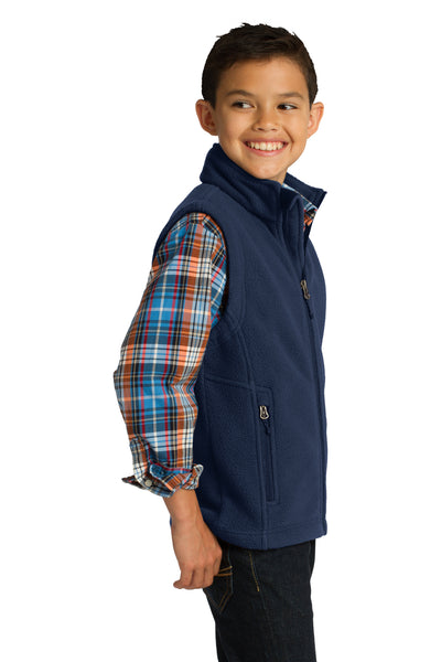Port Authority Y219 Youth Full Zip Fleece Vest Navy Blue Side