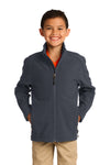 Port Authority Y317 Youth Core Wind & Water Resistant Full Zip Jacket Battleship Grey Front