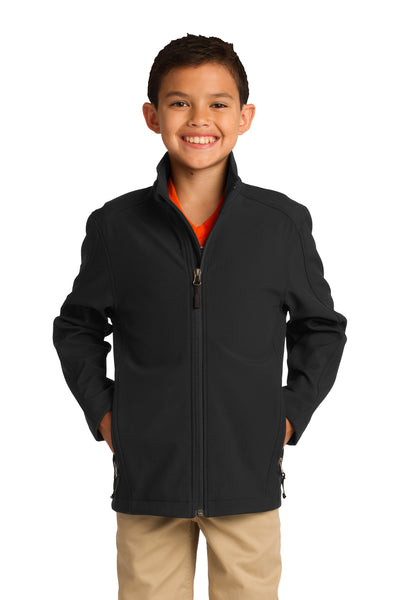 Port Authority Y317 Youth Core Wind & Water Resistant Full Zip Jacket Black Front