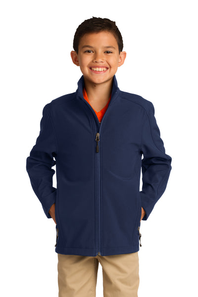 Port Authority Y317 Youth Core Wind & Water Resistant Full Zip Jacket Navy Blue Front