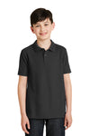 Port Authority Y500 Youth Silk Touch Wrinkle Resistant Short Sleeve Polo Shirt Black Front