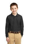 Port Authority Y500LS Youth Silk Touch Wrinkle Resistant Long Sleeve Polo Shirt Black Front