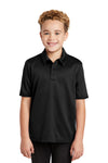 Port Authority Y540 Youth Silk Touch Performance Moisture Wicking Short Sleeve Polo Shirt Black Front