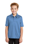 Port Authority Y540 Youth Silk Touch Performance Moisture Wicking Short Sleeve Polo Shirt Carolina Blue Front