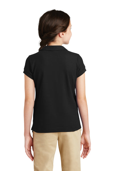 Port Authority YG503 Youth Silk Touch Wrinkle Resistant Short Sleeve Polo Shirt Black Back