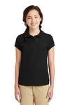 Port Authority YG503 Youth Silk Touch Wrinkle Resistant Short Sleeve Polo Shirt Black Front
