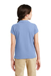 Port Authority YG503 Youth Silk Touch Wrinkle Resistant Short Sleeve Polo Shirt Light Blue Back