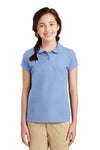 Port Authority YG503 Youth Silk Touch Wrinkle Resistant Short Sleeve Polo Shirt Light Blue Front