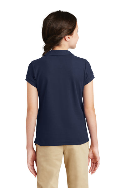 Port Authority YG503 Youth Silk Touch Wrinkle Resistant Short Sleeve Polo Shirt Navy Blue Back