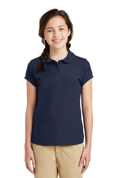 Port Authority YG503 Youth Silk Touch Wrinkle Resistant Short Sleeve Polo Shirt Navy Blue Front