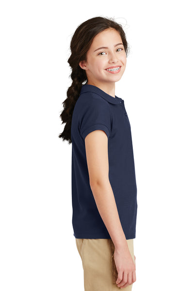 Port Authority YG503 Youth Silk Touch Wrinkle Resistant Short Sleeve Polo Shirt Navy Blue Side