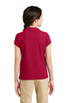 Port Authority YG503 Youth Silk Touch Wrinkle Resistant Short Sleeve Polo Shirt Red Back