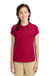 Port Authority YG503 Youth Silk Touch Wrinkle Resistant Short Sleeve Polo Shirt Red Front