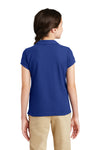 Port Authority YG503 Youth Silk Touch Wrinkle Resistant Short Sleeve Polo Shirt Royal Blue Back