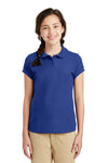 Port Authority YG503 Youth Silk Touch Wrinkle Resistant Short Sleeve Polo Shirt Royal Blue Front