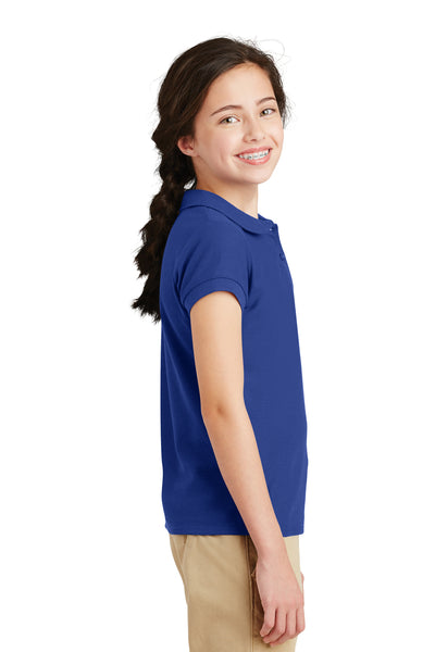 Port Authority YG503 Youth Silk Touch Wrinkle Resistant Short Sleeve Polo Shirt Royal Blue Side