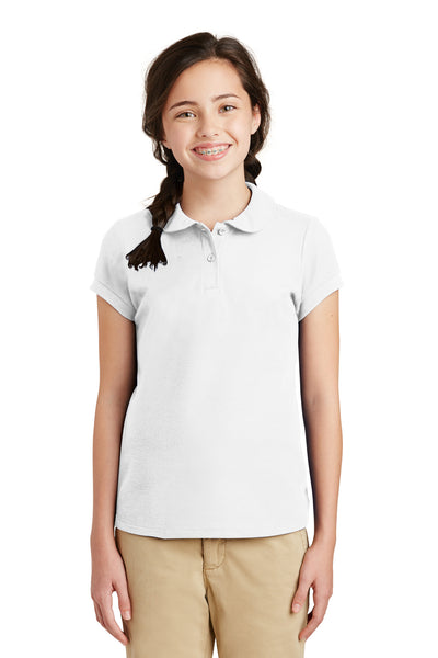 Port Authority YG503 Youth Silk Touch Wrinkle Resistant Short Sleeve Polo Shirt White Front