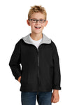 Port Authority YJP56 Youth Team Wind & Water Resistant Full Zip Hooded Jacket Black Front