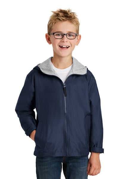 Port Authority YJP56 Youth Team Wind & Water Resistant Full Zip Hooded Jacket Navy Blue Front