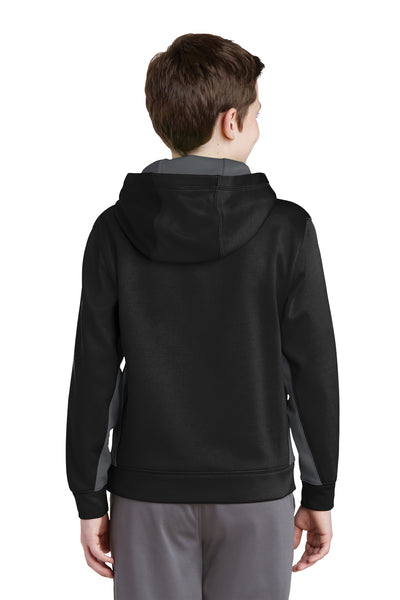 Sport-Tek YST235 Youth Sport-Wick Moisture Wicking Fleece Hooded Sweatshirt Hoodie Black/Grey Back