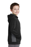 Sport-Tek YST235 Youth Sport-Wick Moisture Wicking Fleece Hooded Sweatshirt Hoodie Black/Grey Side