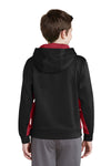 Sport-Tek YST235 Youth Sport-Wick Moisture Wicking Fleece Hooded Sweatshirt Hoodie Black/Red Back