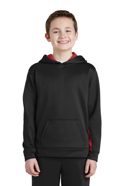 Sport-Tek YST235 Youth Sport-Wick Moisture Wicking Fleece Hooded Sweatshirt Hoodie Black/Red Front