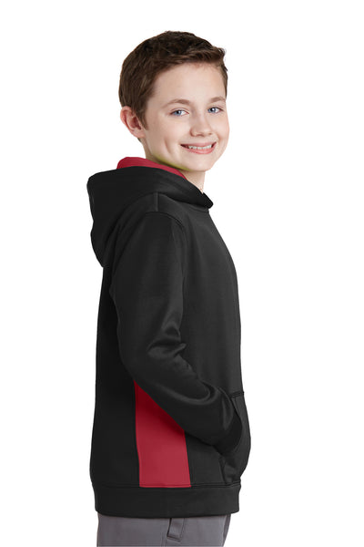 Sport-Tek YST235 Youth Sport-Wick Moisture Wicking Fleece Hooded Sweatshirt Hoodie Black/Red Side