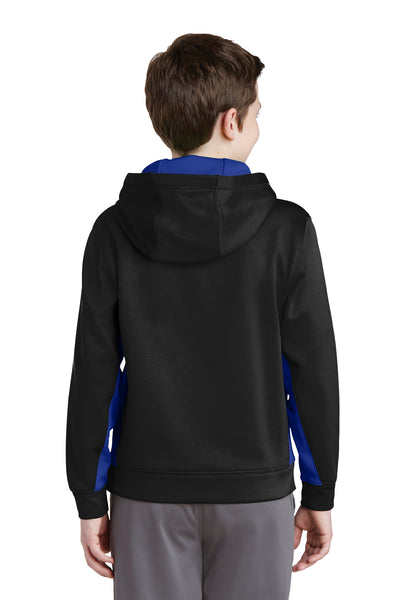 Sport-Tek YST235 Youth Sport-Wick Moisture Wicking Fleece Hooded Sweatshirt Hoodie Black/Royal Blue Back