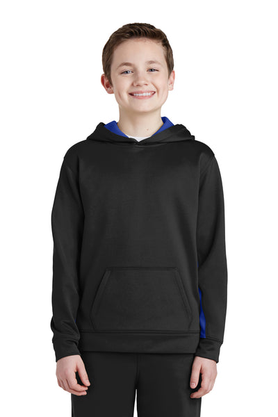 Sport-Tek YST235 Youth Sport-Wick Moisture Wicking Fleece Hooded Sweatshirt Hoodie Black/Royal Blue Front