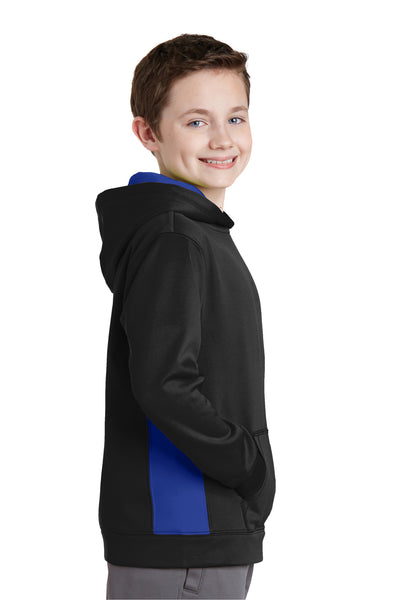 Sport-Tek YST235 Youth Sport-Wick Moisture Wicking Fleece Hooded Sweatshirt Hoodie Black/Royal Blue Side