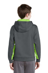 Sport-Tek YST235 Youth Sport-Wick Moisture Wicking Fleece Hooded Sweatshirt Hoodie Dark Grey/Lime Green Back