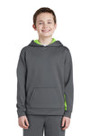 Sport-Tek YST235 Youth Sport-Wick Moisture Wicking Fleece Hooded Sweatshirt Hoodie Dark Grey/Lime Green Front