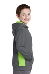 Sport-Tek YST235 Youth Sport-Wick Moisture Wicking Fleece Hooded Sweatshirt Hoodie Dark Grey/Lime Green Side