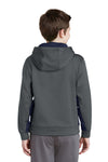 Sport-Tek YST235 Youth Sport-Wick Moisture Wicking Fleece Hooded Sweatshirt Hoodie Dark Grey/Navy Blue Back