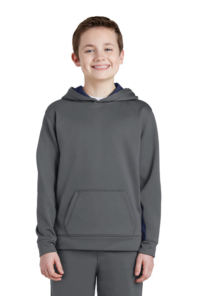 Sport-Tek YST235 Youth Sport-Wick Moisture Wicking Fleece Hooded Sweatshirt Hoodie Dark Grey/Navy Blue Front