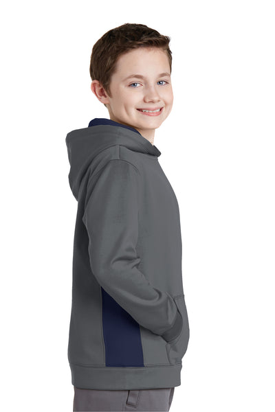 Sport-Tek YST235 Youth Sport-Wick Moisture Wicking Fleece Hooded Sweatshirt Hoodie Dark Grey/Navy Blue Side