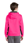 Sport-Tek YST235 Youth Sport-Wick Moisture Wicking Fleece Hooded Sweatshirt Hoodie Neon Pink/Black Back