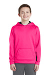 Sport-Tek YST235 Youth Sport-Wick Moisture Wicking Fleece Hooded Sweatshirt Hoodie Neon Pink/Black Front