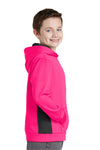 Sport-Tek YST235 Youth Sport-Wick Moisture Wicking Fleece Hooded Sweatshirt Hoodie Neon Pink/Black Side