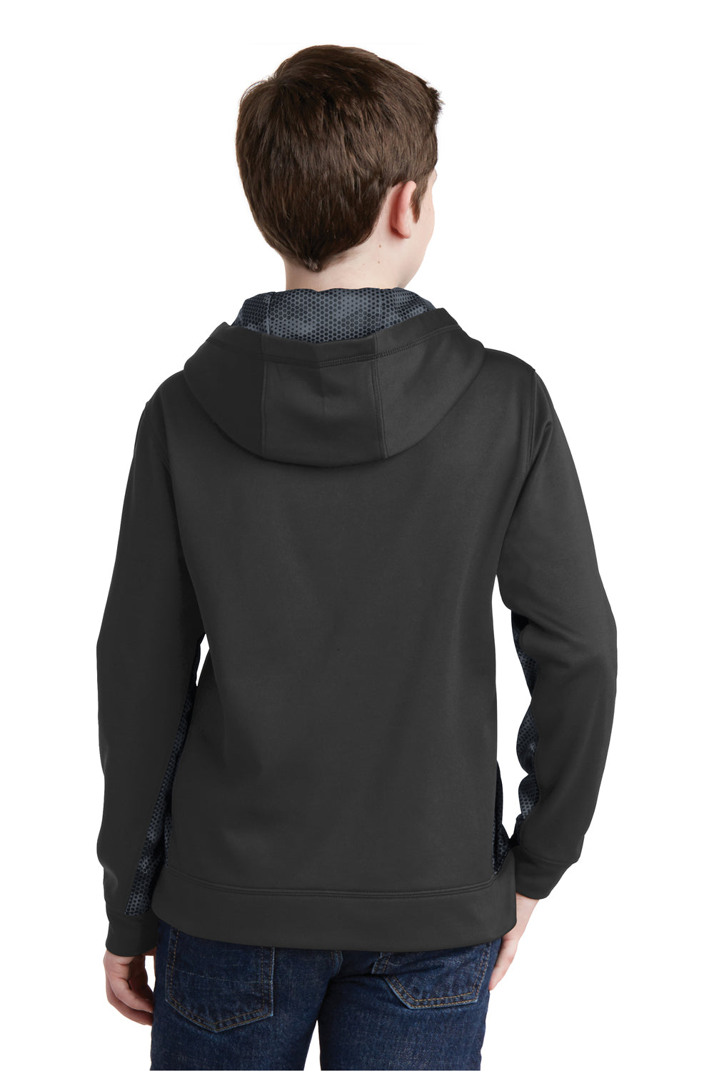 Sport-Tek YST239 Youth Sport-Wick CamoHex Moisture Wicking Fleece Hooded Sweatshirt Hoodie Black/Grey Back