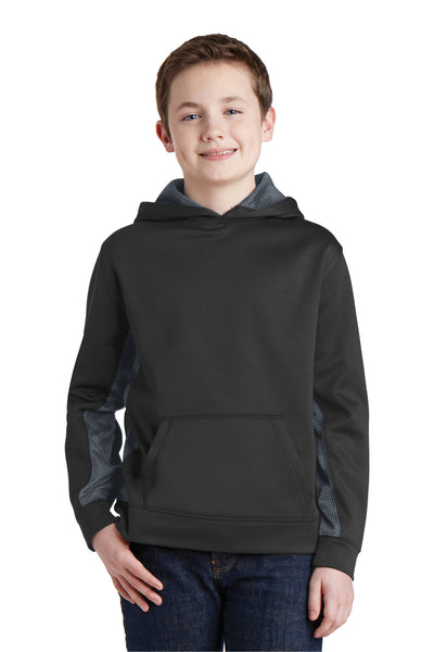 Sport-Tek YST239 Youth Sport-Wick CamoHex Moisture Wicking Fleece Hooded Sweatshirt Hoodie Black/Grey Front