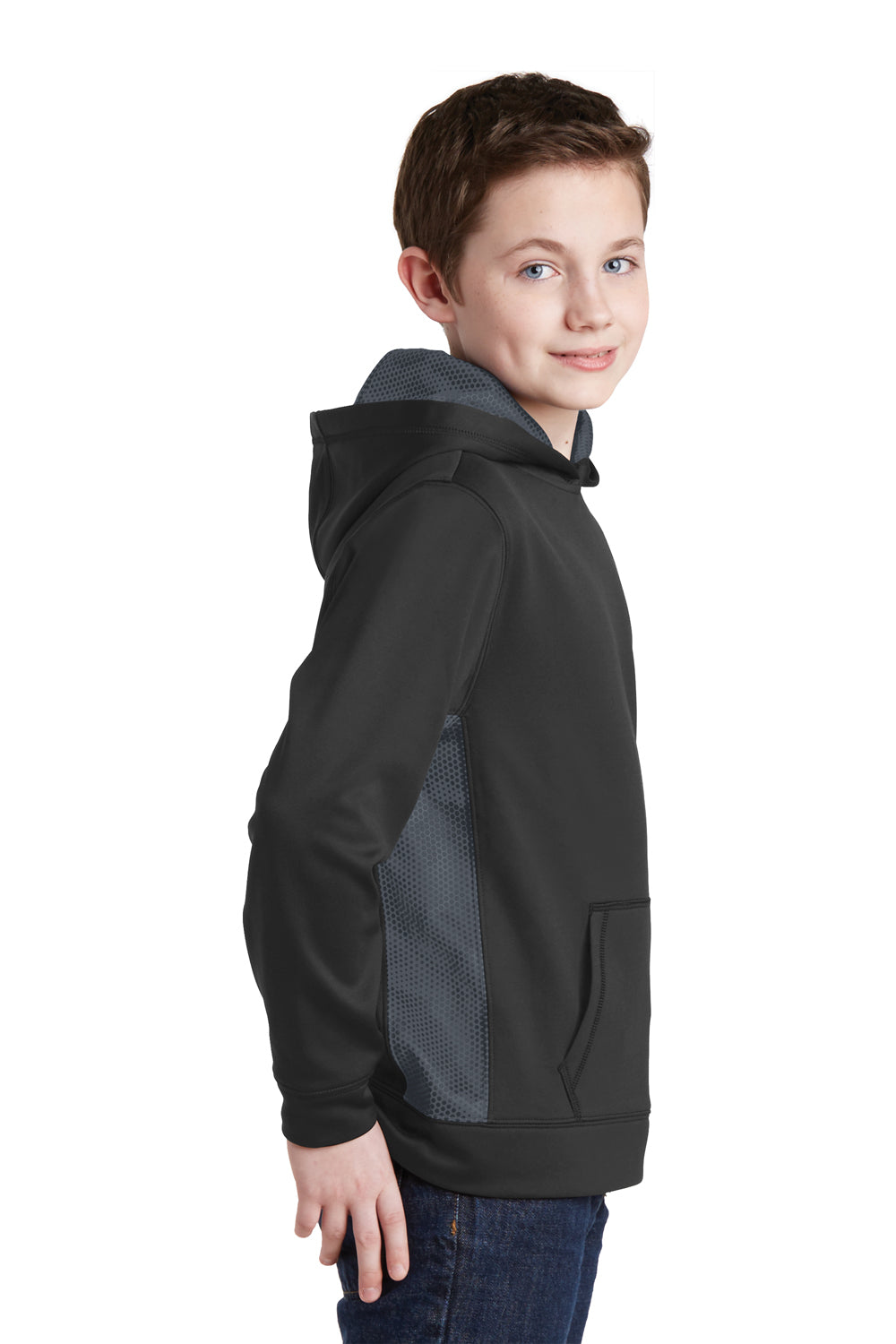 Sport-Tek YST239 Youth Sport-Wick CamoHex Moisture Wicking Fleece Hooded Sweatshirt Hoodie Black/Grey Side
