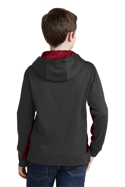 Sport-Tek YST239 Youth Sport-Wick CamoHex Moisture Wicking Fleece Hooded Sweatshirt Hoodie Black/Red Back